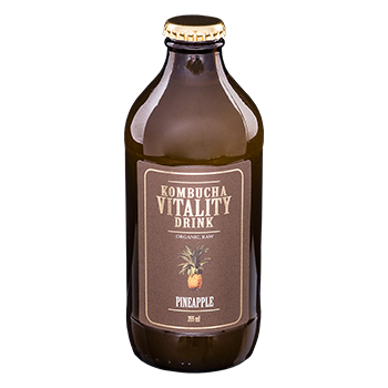 Kombucha vitality drink pineapple bottle front label