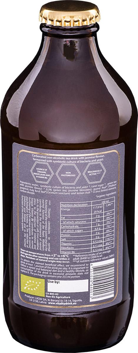 Kombucha vitality drink jasmine bottle back ingredients of product
