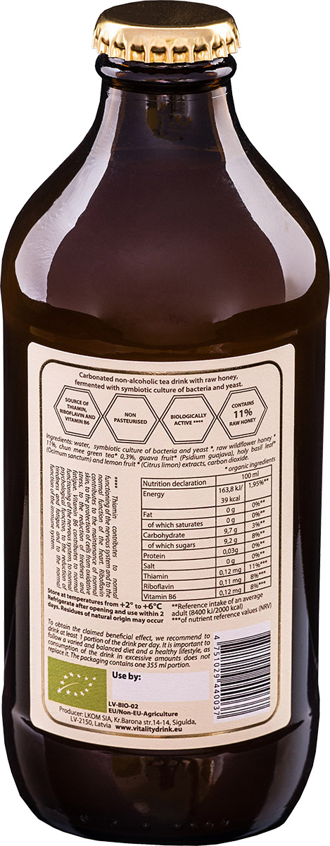 Kombucha vitality drink jun bottle back ingredients of product