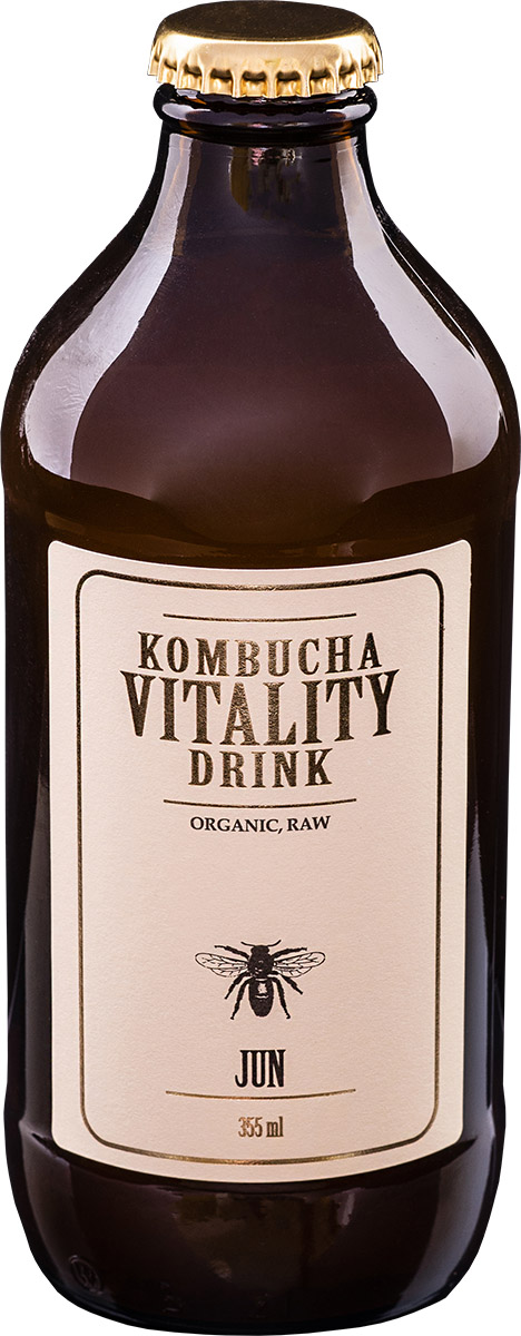 Kombucha vitality drink jun bottle front label