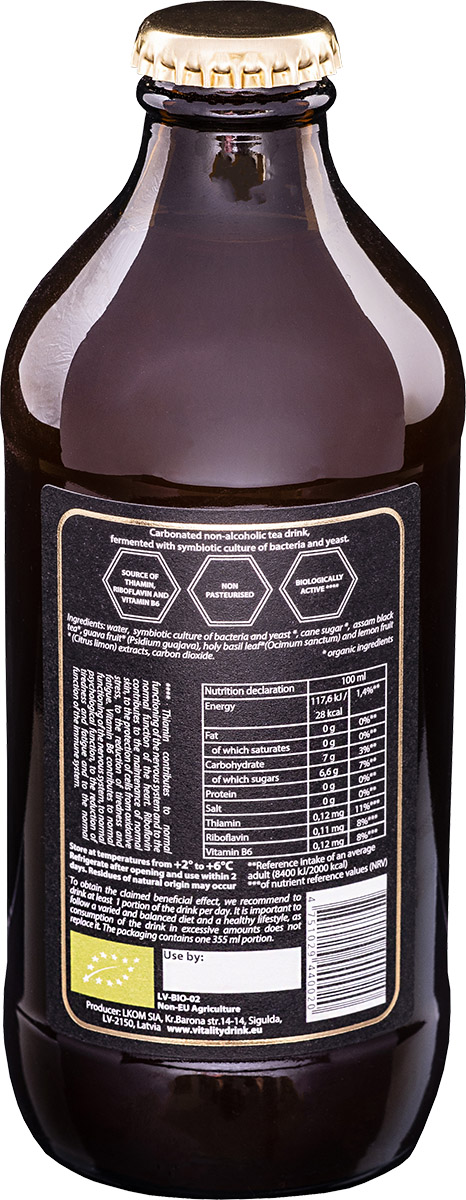Kombucha vitality drink traditional bottle back ingredients of product