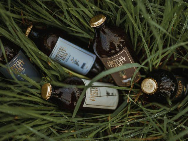 Kombucha vitality drink bottles in grass
