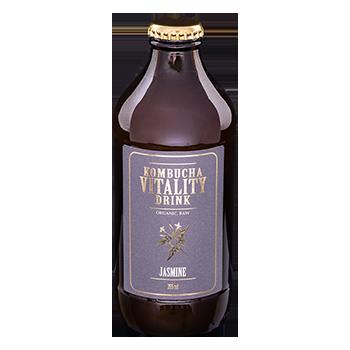 Kombucha vitality drink jasmine bottle front label