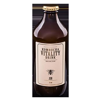 Kombucha vitality drink jun bottle front label