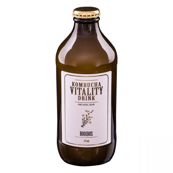 Kombucha vitality drink rooibos bottle front label
