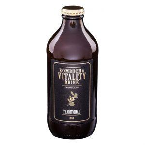 Kombucha vitality drink traditional bottle front label