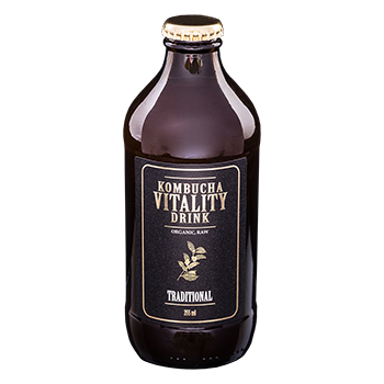 Kombucha vitality drink traditional bottle front label