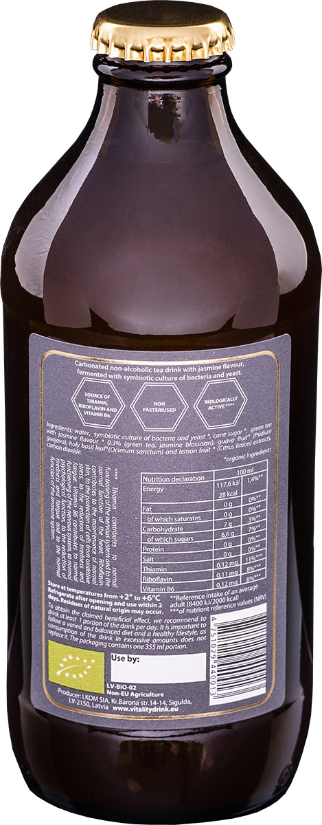 Kombucha vitality drink jasmine bottle back ingredients of product