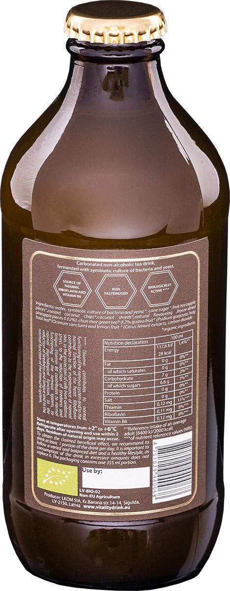 Kombucha vitality drink pineapple bottle back ingredients of product