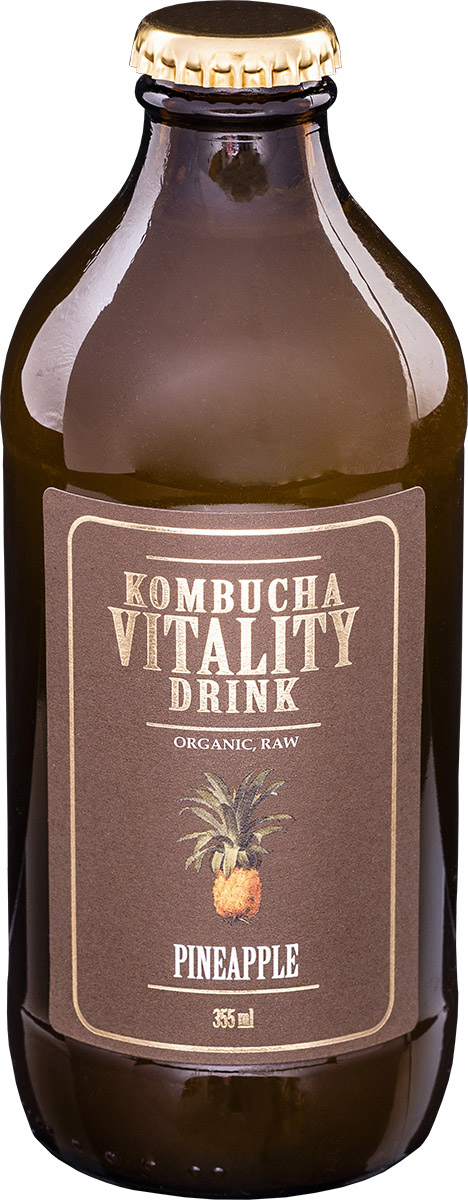 Kombucha vitality drink pineapple bottle front label