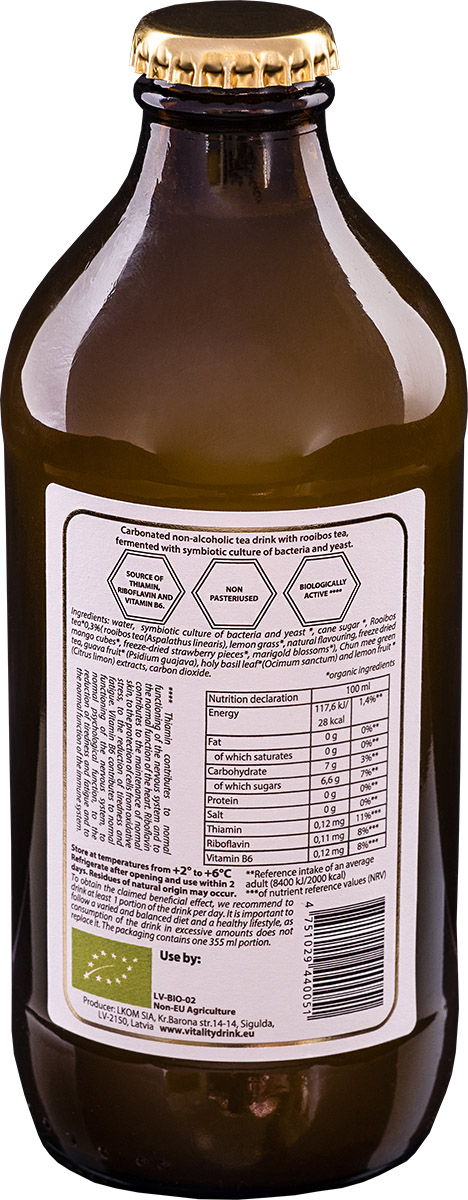 Kombucha vitality drink rooibos bottle back ingredients of product