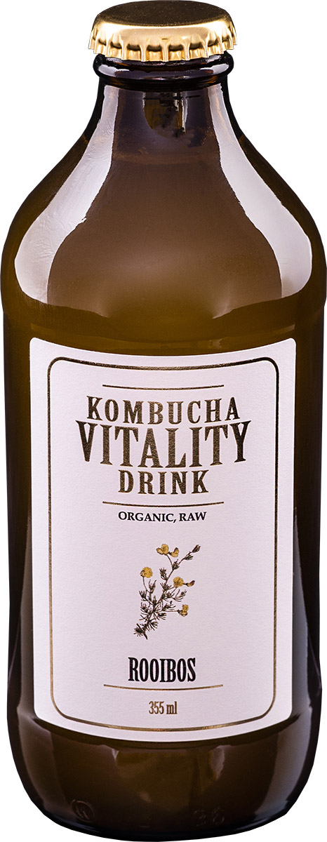 Kombucha vitality drink rooibos bottle front label